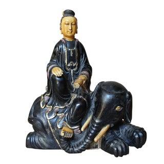 Chinese Carved Wood Kwan Yin on Elephant / Smanthabadhra Figure
