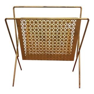 Danish Design Brass Lattice Magazine Rack