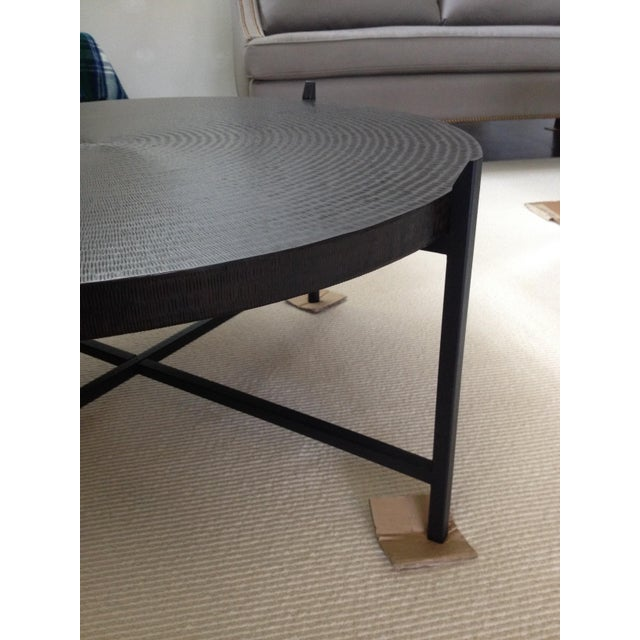 Modern Crate & Barrel Copper & Metal Coffee Table - Image 4 of 10