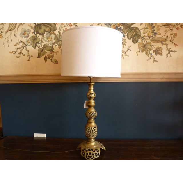 Punched Brass Column Table Lamp - Image 5 of 8