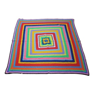 Vintage Handmade Multicolored Crocheted Afghan Throw Blanket