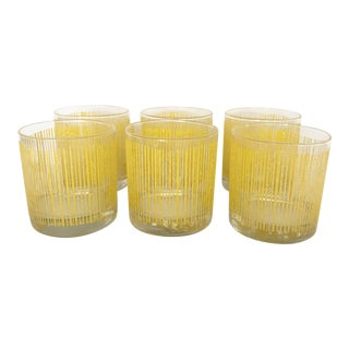 Vintage Yellow Striped Georges Briard Glasses - Set of 6