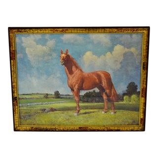 Vintage Robert Wesley Amick Man O War Framed Horse Print on Board