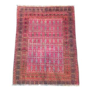 "Antique East Turkestan Pink Samarkand Khotan Rug - 4'11 x 6'3"""