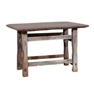 17th Century Rustic Side Table with Stone Top