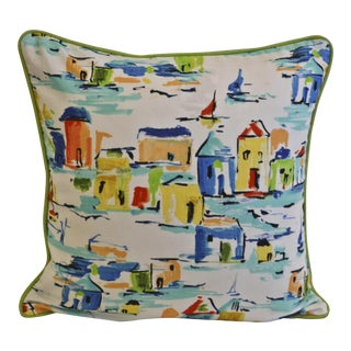 Abstract Scenic Blue & Green Cotton Pillow