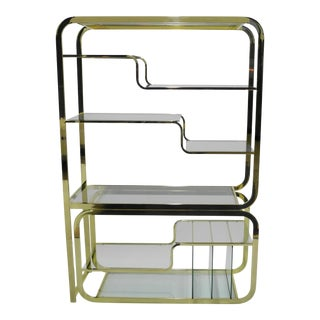 Milo Baughman for Design Institute of America Mid Century Modern Brass Etagere
