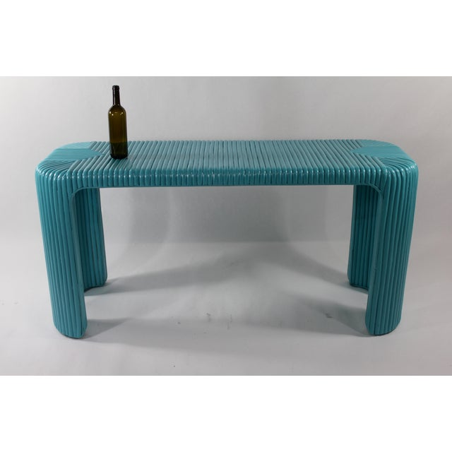 Bamboo Console Table With Aquamarine Lacquer - Image 3 of 5