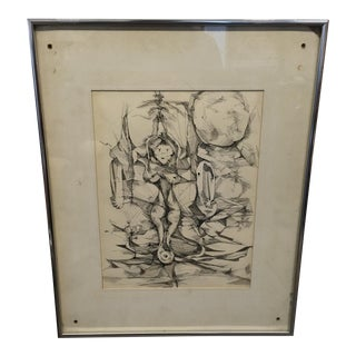Vintage Abstract Framed Ink Nude Sketch