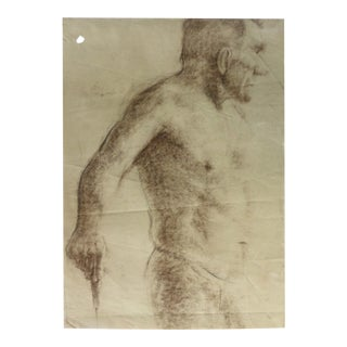 Vintage Drawing of a Male Nude Artist Study