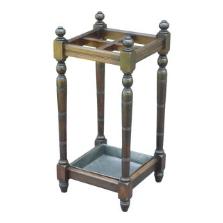 Antique English Oak Umbrella Stand