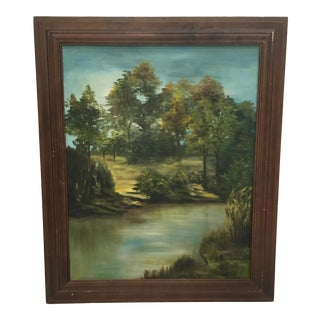 Wooden Framed Landscape Oil Painting