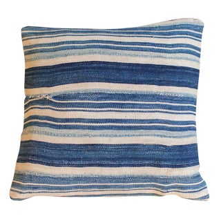 Striped Indigo Throw Pillow