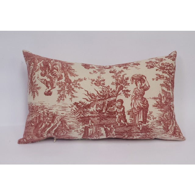 Red & Cream Deconstructed Toile Pillows - A Pair - Image 7 of 8