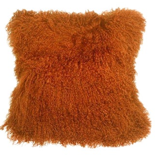 Mongolian Sheepskin Burnt Orange 18x18 Pillow