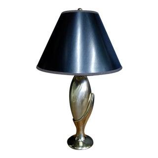 Modernist Sculptural Brass Laurel Lamp