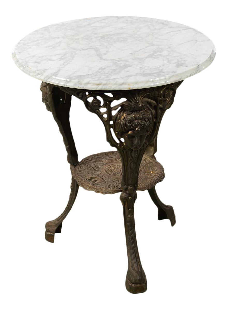 Antique English Cast Iron Pub Bistro Table W/Round Marble Top   Image 1 Of