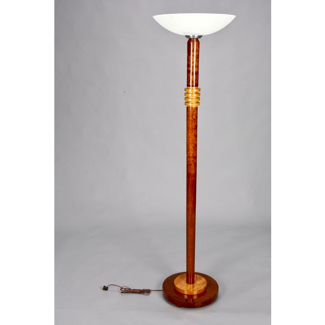 Art Deco Walnut Torchiere Floor Lamp Chairish