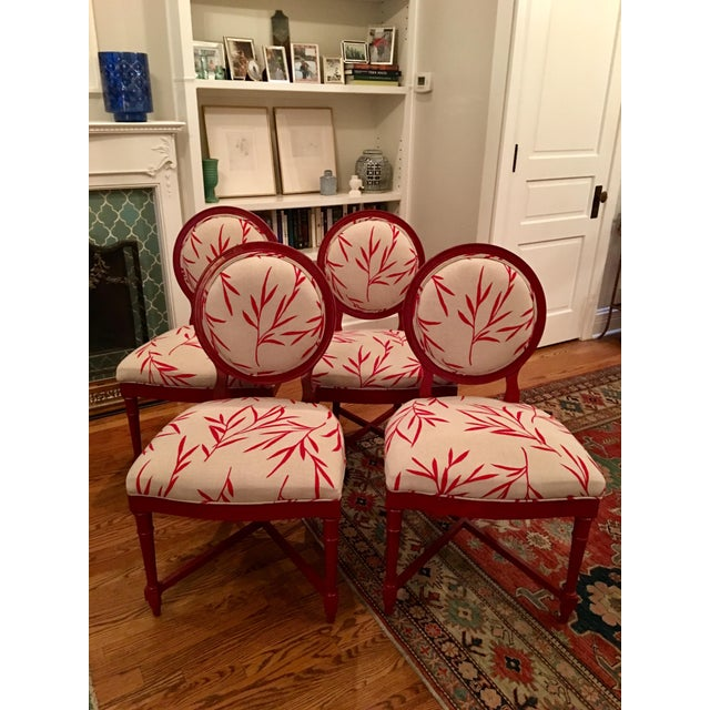Image of Red Bergere Chairs - Set of 4