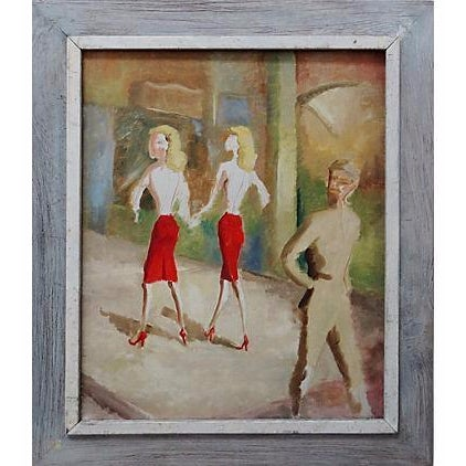 Image of Mid-Century WWII 40's Figural Abstract Painting