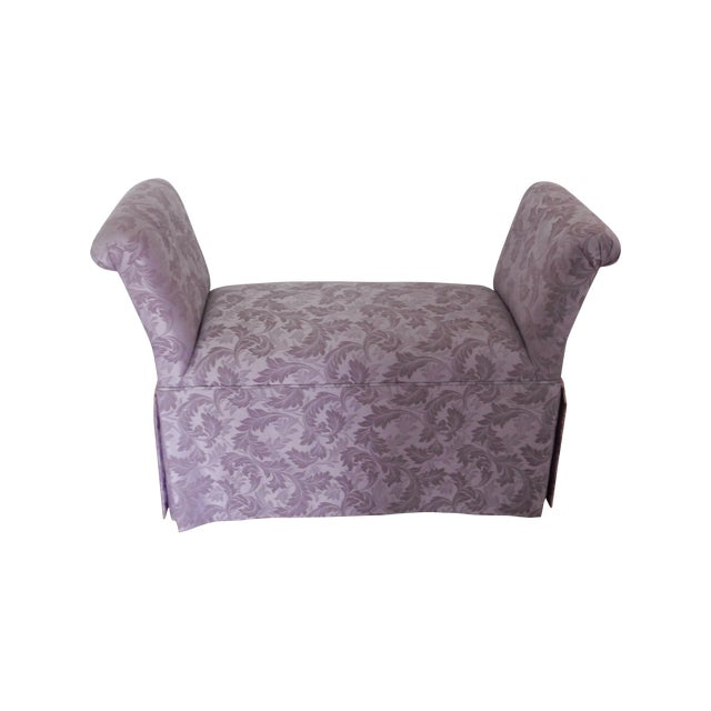 Cushioned Bench With Purple Fabric Chairish