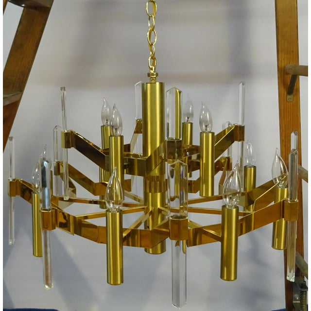 Sciolari Brass and Crystal Chandelier - Image 2 of 3