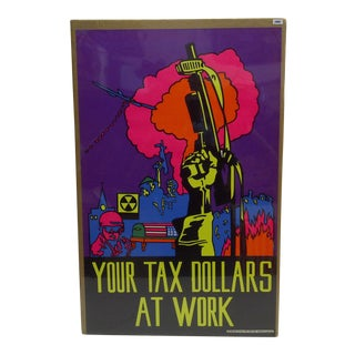 "1969 Vintage ""Your Tax Dollars at Work"" Black Light Poster"