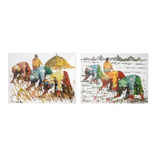 Original Rice Field Workers Paintings - a Pair