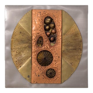 An Abstract Metal Wall Sculpture Panel USA 1970s