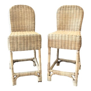 Boho Wicker Bar Stools -- A Pair