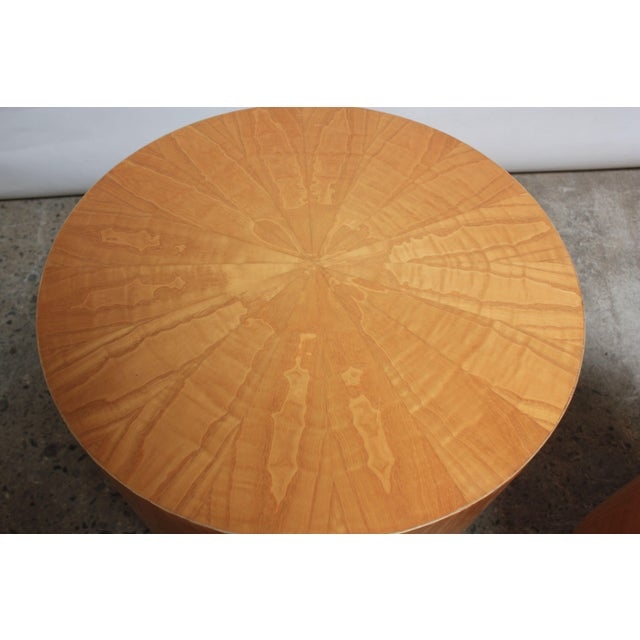 Pair of Large Bookmatched Bird's-Eye Maple Drum Tables - Image 5 of 7