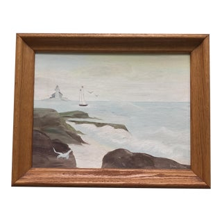 Vintage Original Seascape Oil Painting