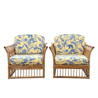 Chinoiserie Bamboo Lounge Chairs - A Pair