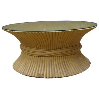 McGuire Wheat Sheaf Rattan Low Table