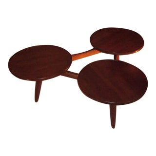 Triple Circular Top Mahogany Coffee Table, Denmark, 1970s