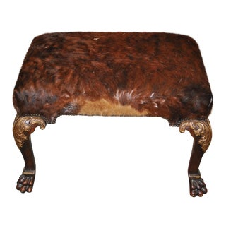 Calfskin Carved Wooden Bench