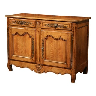 18th Century French Louis XV Carved Oak Buffet from Normandy