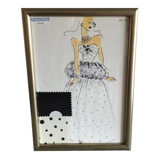 Framed Givenchy Croquis of a Polka Dot Gown