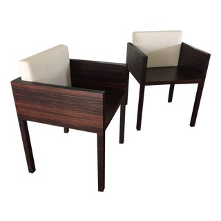Contemporary Wood Sculptural Chairs - Pair
