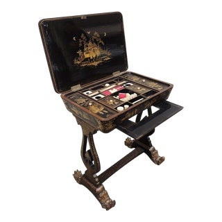 Chinese 1830s Lacquered Sewing Table