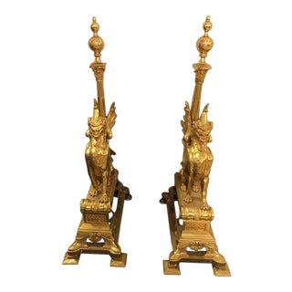 Neoclassical Dore Bronze Winged Dragon Andirons - A Pair