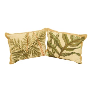 Embroidered Botanical Pillows - A Pair