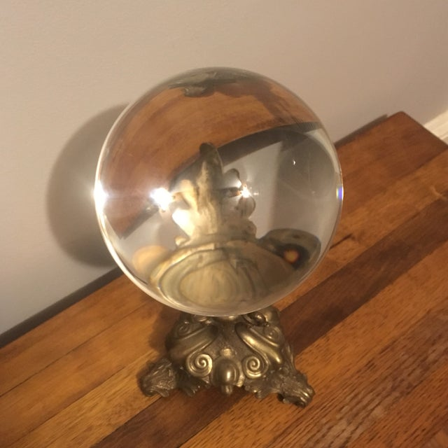Glass quot crystal ball with brass stand chairish