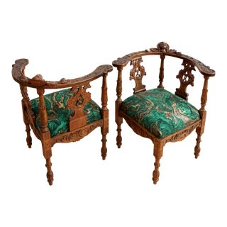 Hand Carved Oak Corner Armchairs - A Pair