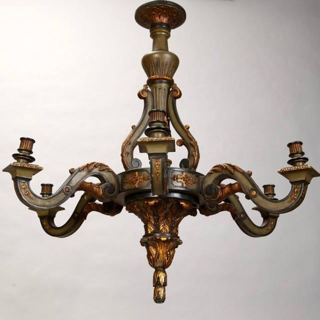 French Carved Wood Painted and Gilded Six-Light Chandelier, 1930's - Image 2 of 5