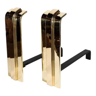 Custom Art Deco Style Skyscraper Andirons Displayed in Polished Brass