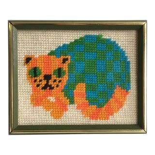 1970's Kitty Needlepoint Artwork