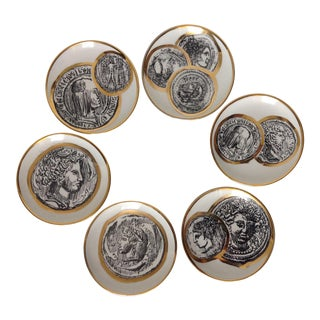 Italian Porcelain Gilt Roman Coin Drinks Coasters - Set 6