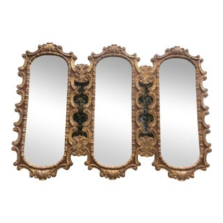 Hollywood Regency Wood Triptych Mirror