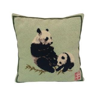 Vintage Needlepoint Panda Pillow